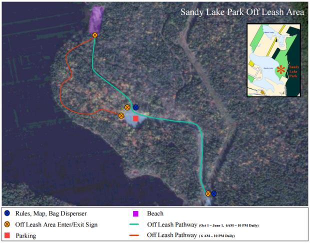 Sandy Lake Park off-leash map