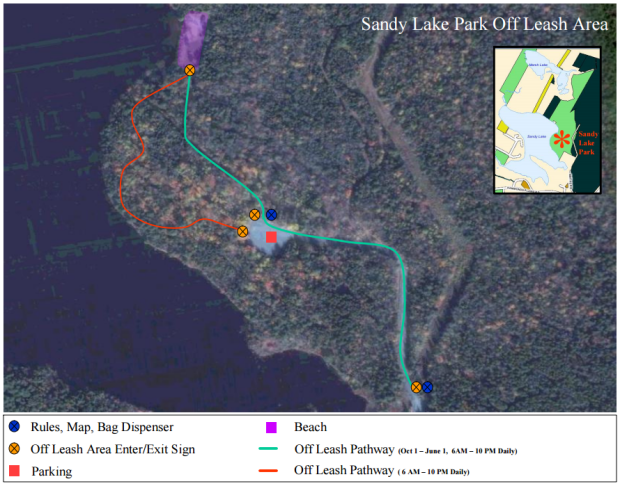 Sandy Lake Park off-leash map